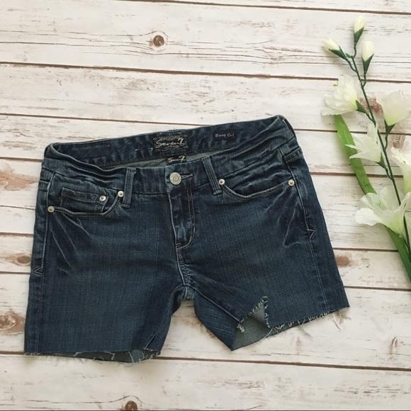 Seven7 Pants - [Seven7] Cut Off Denim Shorts